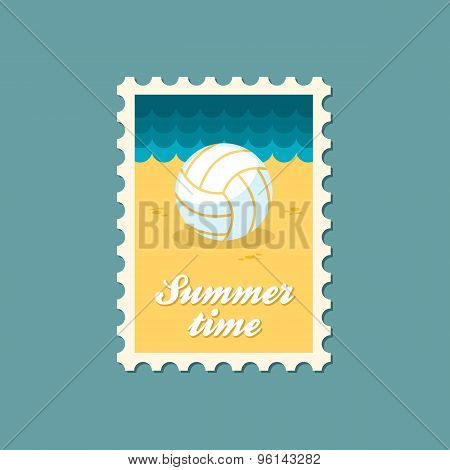 Volleyball Flat Stamp