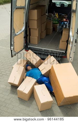 Unconscious Worker Lying On Street