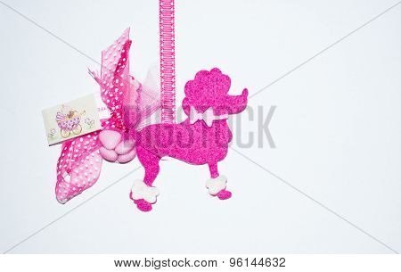 Dog Felt, Purple, On A White Background.