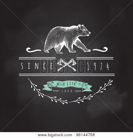 Vintage label bear.