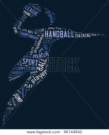 Handball Pictogram On Blue Background