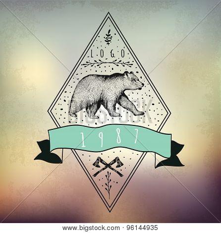 Vintage label bear. T-shirt design.