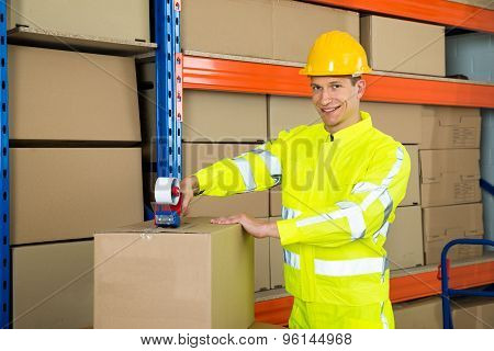 Worker Sealing Cardboard Box With Adhesive Tape