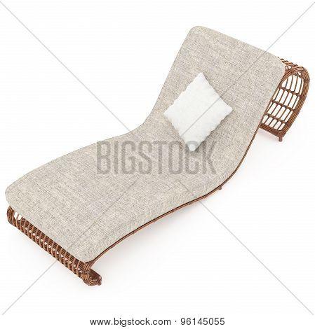 Rattan sun lounger with mattress 3d graphics
