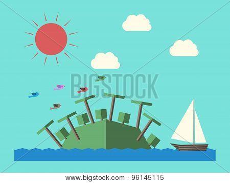 Island, Ship And Sun