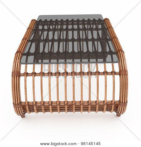 Table rattan front view 3d graphics