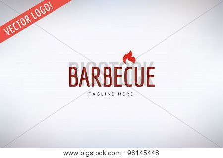 Barbecue and Food Vector Logo. Outdoor, Kitchen or Meat symbols. Stock design element