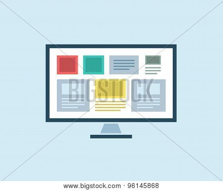 Flat Computer vector icon isolated. PC object, or technolofy and office symbol. Stock design element