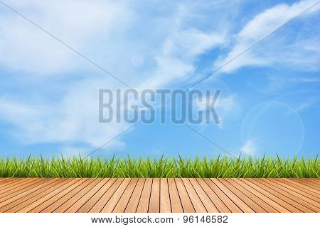 Wood Pattern And Grass Under Sky