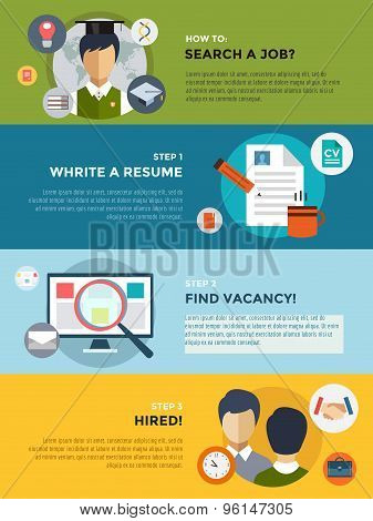 Job search after university infographic. Students, labor, searching and professions. Vector stocks i