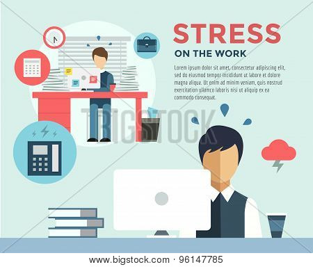 New Job after Stress Work infographic. Students, Stress, Clerk and Professions. Vector stocks illust