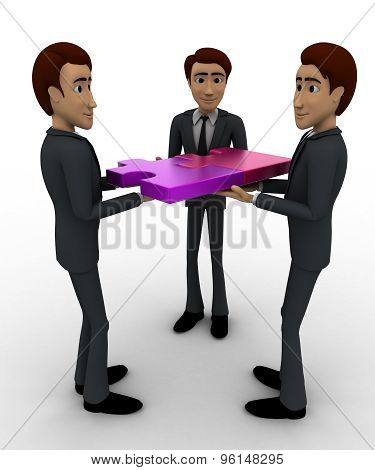 3D Three Men Team Conncet Puzzle Concept