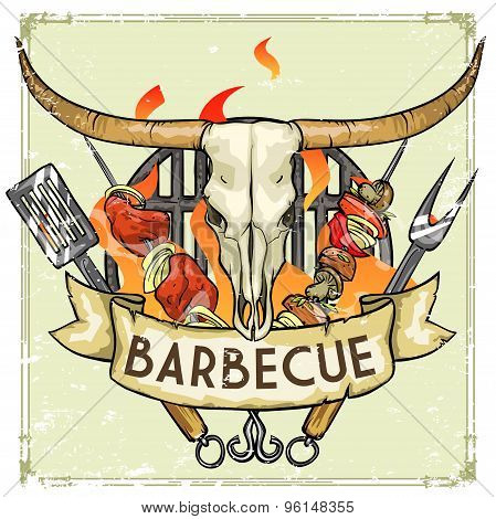 BBQ Grill label design -  Vector Illustration with sample text