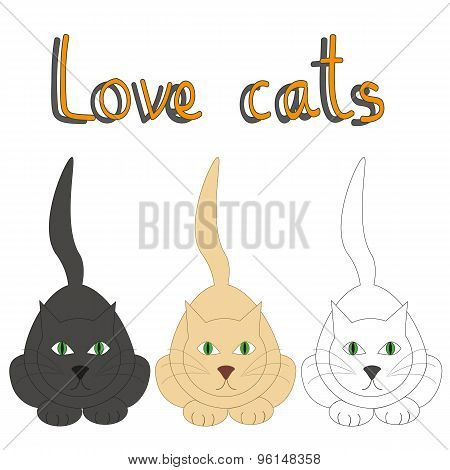 Vector Card With Three Cats And Text