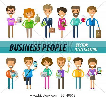 Business people on a white background. A set of funny icons. Vector illustration