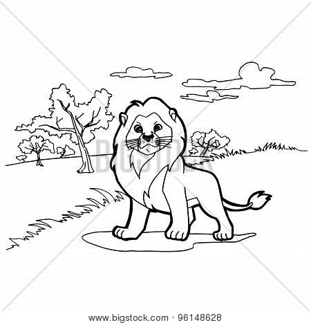 lion cartoon coloring pages vector