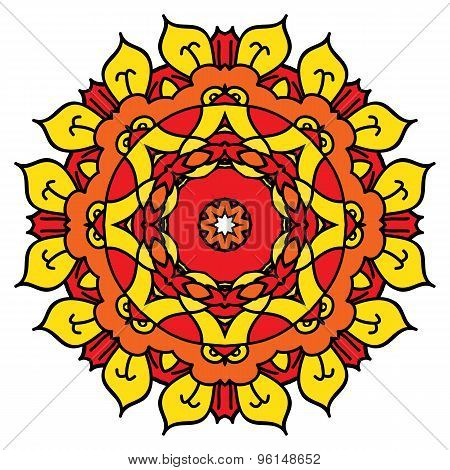 Bright Yellow Vector Mandala