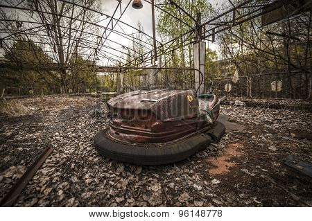 Abandoned Bumper Cars In Pripyat