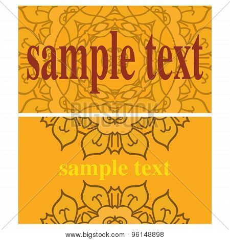 Two orange vector cards with ornamental mandalas