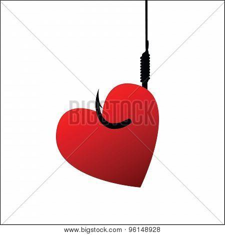 Heart on fishhook