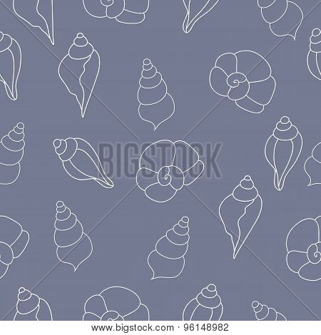 Vector Seamless Pattern With Seashells On The Gray Background