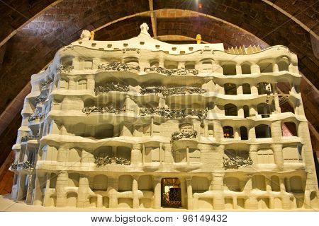 BARCELONA, SPAIN - MAY 01: Small scale model of Casa Milla, with details of the facade of the house made by the Catalan architect Antonio Gaudia, May 01, 2015 in Barcelona, Spain