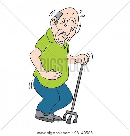 An image of a male senior citizen using a walking cane.