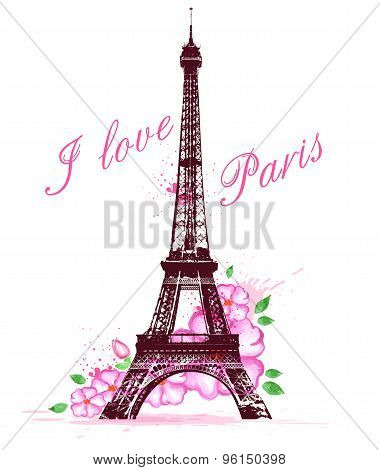 Pink Watercolor Flowers And Eiffel Tower