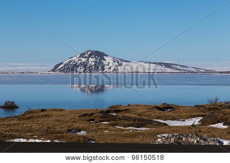Mountain with snow reflection, Iceland