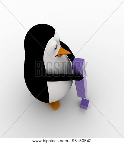 3D Penguin With Exclamation Mark In Hand Concept