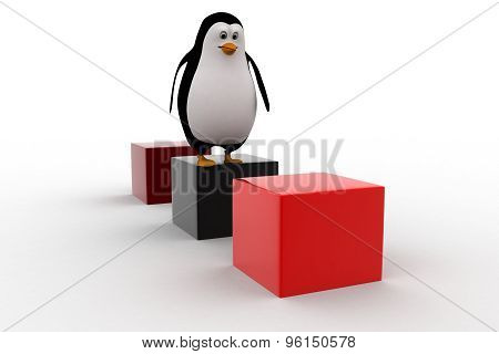 3D Penguin Jumping On One Cube To Another Cube Concept