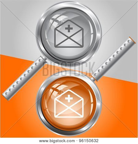 mail plus. Vector magnifying glass.