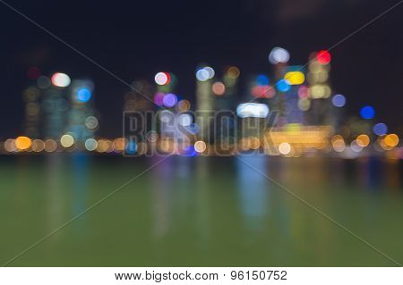 View of Singapore city nights lights of bokeh background at night