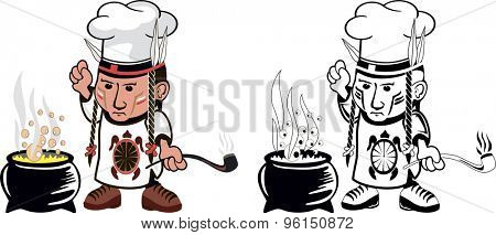 Cartoon drawing of an american indian cook