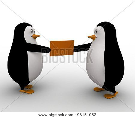 3D Penguin Postman Deliver Mail Letter To Another Penguin Concept