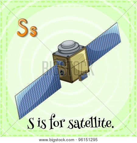 Flashcard letter S is for satellite