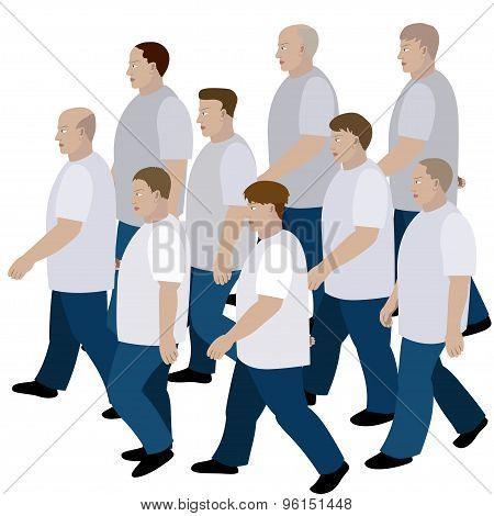 Crowd Of Men Moving In Jeans And T-shirt To The Common Direction
