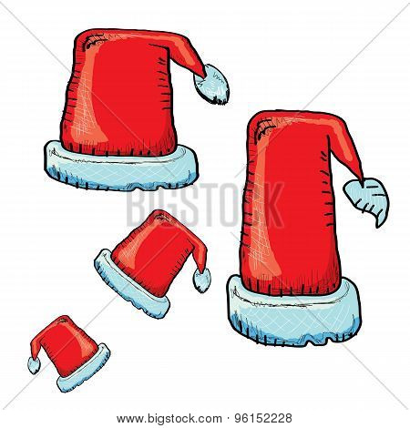vector hand drawn santa hat isolated on white