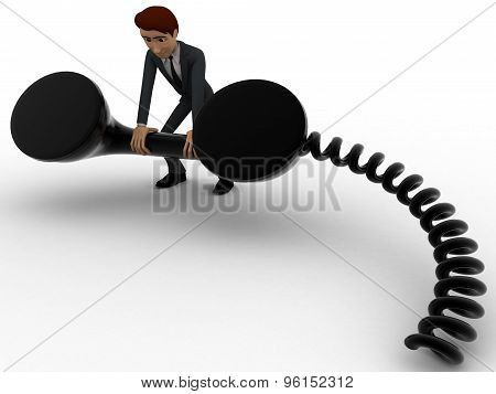 3D Man With Big Black Telephone Receiver Concept