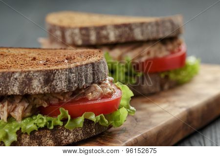closeup photo of sandwich with tuna and vegetables on rye bread