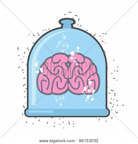 Hhuman Brain In A Jar. Brain For A Scientific Experiment. Vector Illustration.