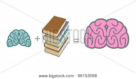 Brain And Book. Use Reading To Mind. A Stack Of Book. Vector Illustration