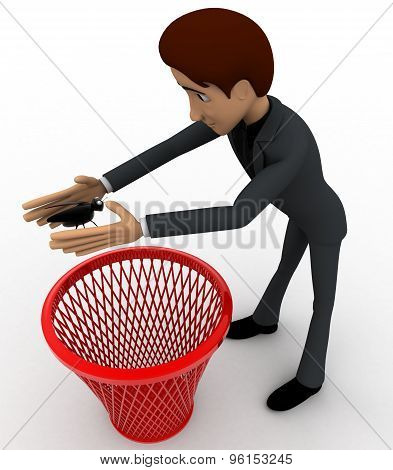 3D Man Catching Bug And Throughing It Into Dustbin Concept