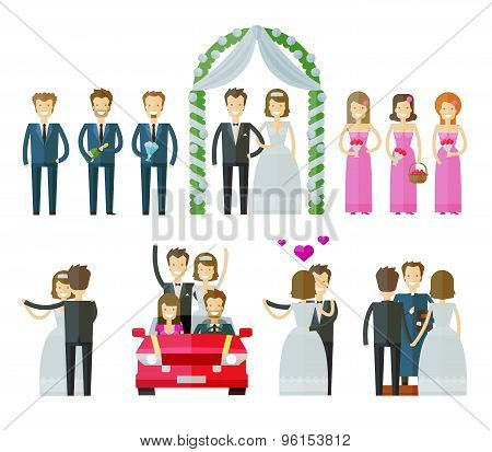 wedding icons set.  marriage, nuptial, wed or bride and groom signs. vector illustration