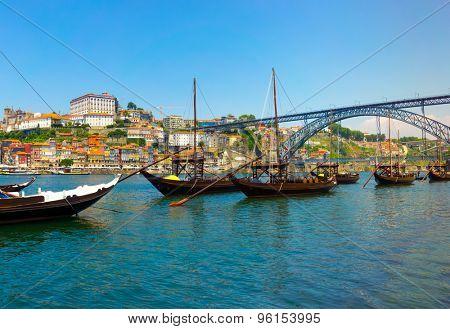 Porto old town skyline on the Douro River