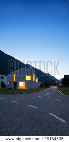 architecture, country houses view from the road, night scene