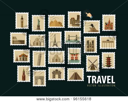 travel, vacation vector logo design template. postage stamp or historic architecture of the world ic