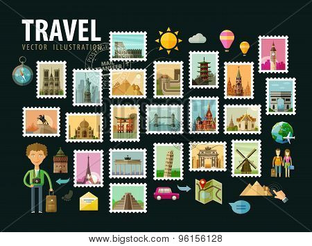 Travel, journey. Icons set. Postage stamps depicting historical architecture in the world. Vector il