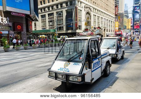 New York Police Car Is Standing By On Times Square