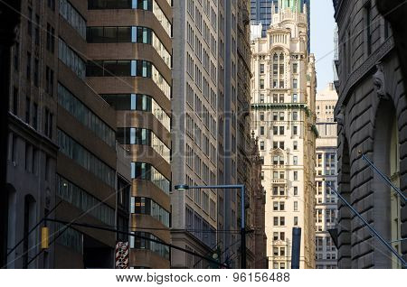Wall Street Buildings In New York City, United States